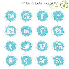 Голубые иконки для сайта PSD
