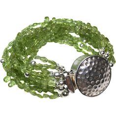 Peridot and Sterling Multi Strand Bracelet Handcrafted artisan jewelry at Ruby lane #rubylane @rubylanecom
