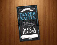 Diaper Raffle Chalkboard Mustache Baby Shower by PinkOwlPrtyStudio