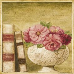 Potted Flowers with Books I (Eric Barjot)