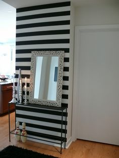 Interesting Wall Decor Ideas Using Everyday Items Easy DIY Wall Decoration and Remodeling Diy Wall Decor, Diy Home Decor, Room Decor, Future House, Striped Accent Walls, Decoration Inspiration, Decor Ideas, Interior Decorating, Interior Design