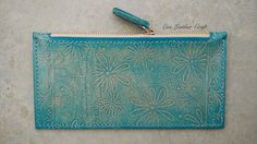 Slim Turquoise Leather cosmetic bag clutch with by EviLeatherCraft