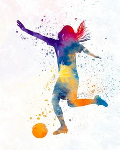 Woman soccer player 07 - Fine Art Print Glicee Poster Home Watercolor sports Gift Room Children's Illustration Wall - SKU 2295 - Soccer Photos Fc Liverpool, Football Girls, Girls Soccer, Alabama Football, Soccer Players Women, American Football, Mbappe Psg, Sports Gifts, Doodles