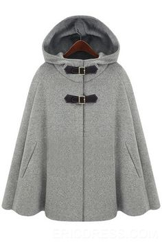 Always a sucker for anything that looks like a cape or poncho.Grey Hoodie Two PU Buckle Woolen Poncho Coat Poncho Cape, Wool Poncho, Cape Coat, Cape Jacket, Winter Poncho, Grey Poncho, Poncho Mantel, Cardigan Gris, Hooded Cloak