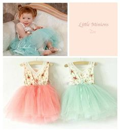 Lovely combo of flowers and frills. Pretty dress available in Green and Pink. Kid Styles, Pretty Dresses, Minions, Fashion Dresses, Flower Girl Dresses, Wedding Dresses, Lady, Pink, Clothes