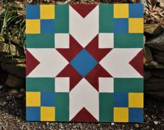 Western Star - 2' x 2' barn quilt square hand painted on wood