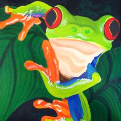 Frog painting in acrylic (painting canvas farm) Gouache Painting, Silk Painting, Acrylic Painting Canvas, Canvas Art, Watercolor Animals, Watercolor Art, Frog Coloring Pages, Frog Drawing, Motifs Animal