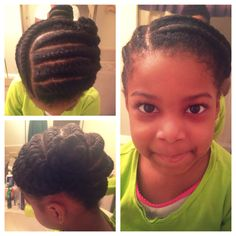 Kids natural hair style - jumbo flat twists - updo - daycare friendly hair style - protective hairstyle
