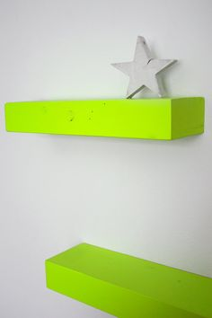 neon for kids room but love the floating shelves
