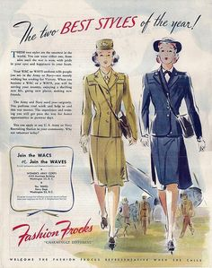WAC and WAVE uniforms in ad by Fashion Frocks, 1940s.  by annamouse, via Flickr