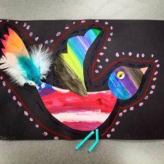 #1stgrade #johnjamesaudubon #birds #paintedpaper #texture #pattern #marshallelementaryart