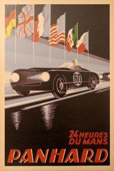 24 Heures du Mans Panhard, 1959 - original vintage poster by A Kow listed on AntikBar.co.uk