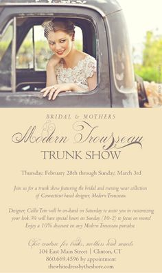 Modern Trousseau bridal and mother of the bride Trunk Show