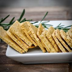 Low Carb, Low Fat, super tasty! Chickpea Flour Herb Crackers- Just grind up dried chickpeas in a good blender or food processor. These are so so tasty with dips.