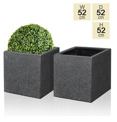 Black Poly-Terrazzo Cube Planter – Set of 2 - H52cm £159.99