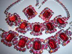 VINTAGE JULIANA D&E RUBY RED AB RHINESTONE NECKLACE BRACELET EARRING SET PARURE in Jewelry & Watches, Vintage & Antique Jewelry, Costume | eBay