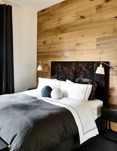 accent wall bedroom, accent wall ideaslove the layered headboard and wooden accent wall. Wooden Wall Bedroom, Wooden Accent Wall, Wooden Wall Panels, Accent Wall Bedroom, Wood Panel Walls, Wooden Walls, Accent Walls, Headboard With Lights, Wood Headboard