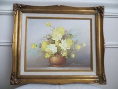 Items similar to Vintage Framed Yellow Roses Oil Painting with Gray Background Ornate Frame Vertical JOHNSON Artist on Etsy Yellow Roses, Ornate Frame, Shades Of Yellow, Framed Art, Gray Background, Ornate, Vintage Frames, Frame, Vintage