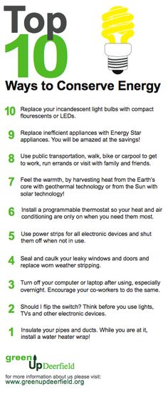 The best way to conserve electrical energy around the house. http://www.off-the-grid-homes.net/ways-to-save-energy.html