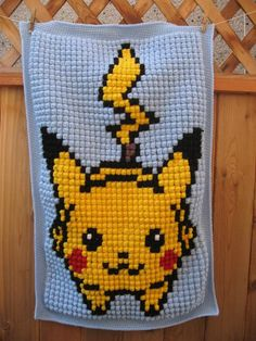 [FO] Crochet Bobble Stitch Pikachu Pixel Blanket - Imgur