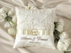Lace Wedding Pillow Ring Bearer Pillow Embroidery Names, custom colors   Custom Embroidery is welcome !  Elegant Wedding Pillow  Customizable