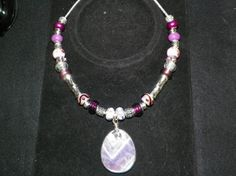 European Style Beaded Necklace in Purple with Lavendar Pendant $25