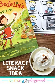 Follow Amelia Bedelia on her adventure at the apple farm and making her very first apple pie. Come see our snack idea and free printable to go along with the book. #booksnack #literacysnack #applepieinacup #kindergarten