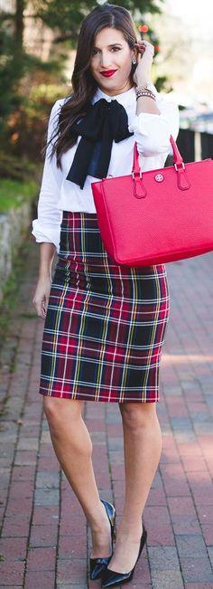 A Sothern Drawl Tartan Plaid Skirt Holiday Style Inspo