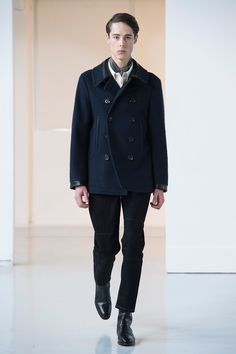 11. Caban in lambswool melton, detachable collar shirt in cotton oxford, four-pocket pants in cotton denim, ascot scarf in silk twill, boots in leather