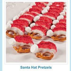 Santa hat pretzel treats