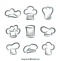 Great collection of hand-drawn chef items Vector Logo Chef, Speisenkarten Designs, Koch Tattoo, Baking Logo, Bakery Logo Design, Logo Restaurant, Logo Food, Logo Design Inspiration, Doodle Art