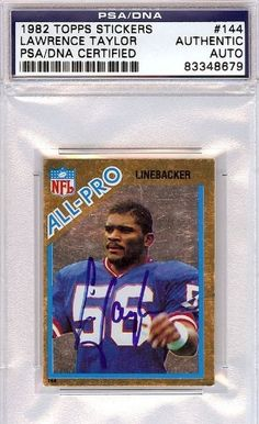 Lawrence Taylor Autographed/Hand Signed 1982 Topps Stickers Card PSA/DNA #83348679 by Hall of Fame Memorabilia. $72.95. This is a 1982 Topps Stickers Card that has been hand signed by Lawrence Taylor. It has been authenticated by PSA/DNA and comes encapsulated in their tamper-proof holder.