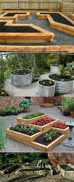 Garden Landscaping Raised Bed Ideas You could start with raised gardening beds and protect the dirt from outside contamination, any ideas on that? - Plain and boring backyard design is unappealing Container Gardening, Gardening Tips, Organic Gardening, Vegetable Gardening, Vegetable Ideas, Beginners Gardening, Vegetable Bed, Fairy Gardening, Gardening Quotes
