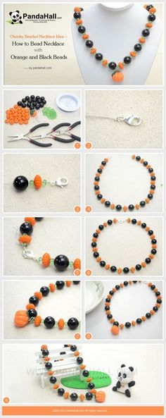 How to Make Chunky Beaded Necklace with Orange ... | Jewelry Making T�� by wanting