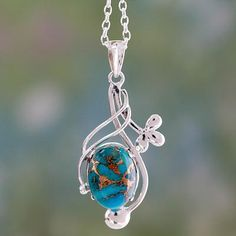 Sterling Silver Necklace with Blue Composite Turquoise - Sky Secret | NOVICA
