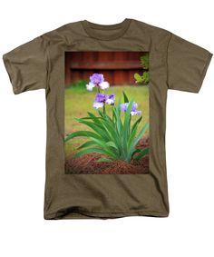 Flower Men's T-Shirt (Regular Fit) featuring the photograph Blue Violet Irises by Cynthia Guinn