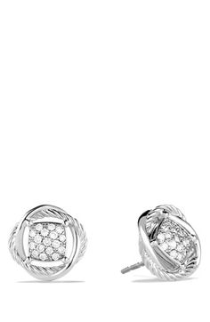 David Yurman 'Infinity' Pavé Diamond Stud Earrings available at #Nordstrom