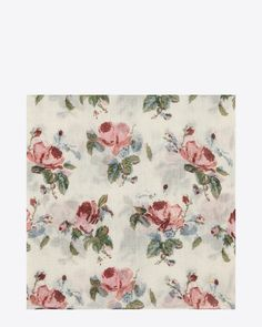 SAINT LAURENT LARGE SQUARE SCARF IN OFF WHITE AND PINK GRUNGE ROSE PRINTED WOOL ÉTAMINE