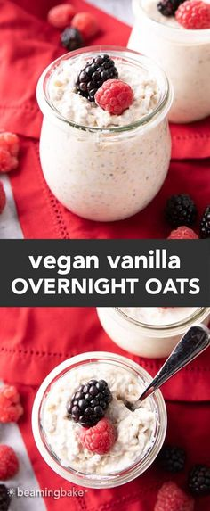 Vanilla Overnight Oats: a simple 'n easy vegan overnight oats recipe made with just a few ingredients and ready in minutes! Creamy, satisfying and delicious. Vegan. #OvernightOats #Vegan #OvernightOatmeal   Recipe at BeamingBaker.com Dairy Free Overnight Oats, Overnight Oats With Yogurt, Vegan Overnight Oats, Overnite Oats, Vanilla Recipes, Yogurt Recipes, Oats Recipes, Baker Recipes, Vegan Gluten Free Desserts