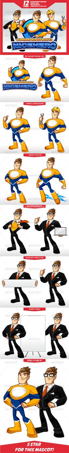 Complete Superhero Mascot V.2 Buy it Here http://graphicriver.net/item/complete-superhero-mascot-v2/5630630?ref=graphicon