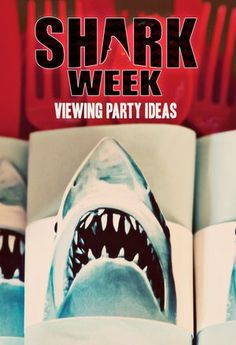 SHARKS Scene Setter shark week party wall or door poster cover nautical ocean