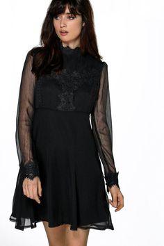 Bella Victoriana Lace Trim A line Skater Dress