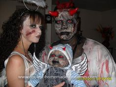 Coolest Zombie Lucifer, Angel, and Baby Costume 54: I'm a Zombie Devil aka Lucifer with a homemade costume and face makeup along with my girlfriend which is a Zombie Angel and our homemade baby which is