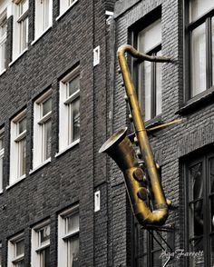 Saxophone Art Music Print Jazz Art, Amsterdam Photography Black and White Street Art, Architecture, Europe Travel - Standard Jazz