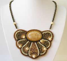 Bead embroidered necklace Crocheted Pendant Coral brown flower