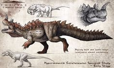 """Some very cool unofficial concept art for a Hypo Ceratosaurus in """"The Isle"""" by Emily Stepp."""
