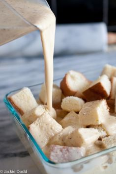 Egg Nog French Toast Bake...the PERFECT breakfast to have while drinking eggnog and watching the parade! :-)
