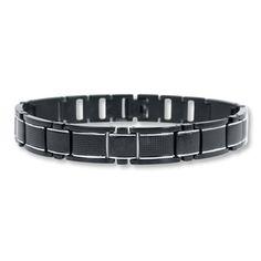 Mens Bracelet Glass Stainless Steel