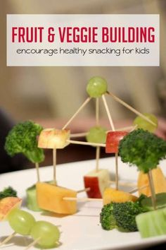 This fruit and veggie building activity is an imaginative way to encourage kids to eat healthy and build fine motor skills. Nutrition Activities, Kids Nutrition, Nutrition Tips, Health And Nutrition, Healthy Kids, Healthy Snacks, Eat Healthy, Healthy Eating Games, Veggie Art