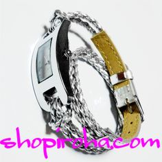 三つ編み・レザーベルト・2連ブレスレットのカラフル腕時計・ブレスウォッチ・銀色・シルバーshopiroha.com ジュエリー・アクセサリー・通販